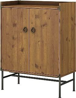 kathy ireland Home by Bush Furniture Ironworks Bar Cabinet with Wine Storage in Vintage Golden Pine