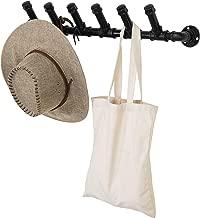 MyGift Wall-Mounted Industrial Black Metal Pipe 6-Hook Coat Hanger Rack, 26 Inch