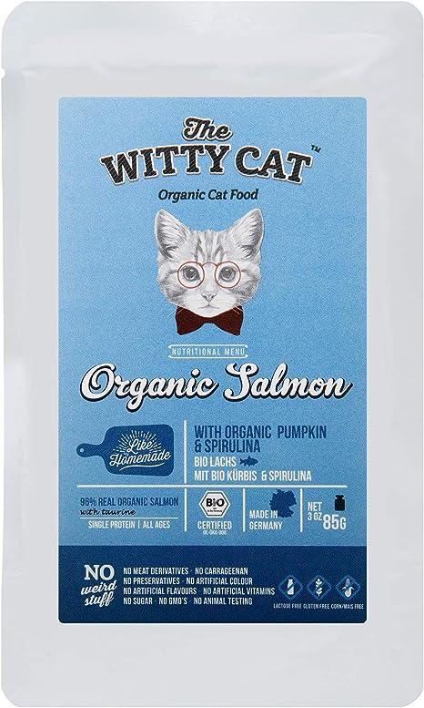THE WITTY CAT Alimento para Gatos húmedos 99% Certificado ORGÁNICO: Salmón (96%) con Calabaza & Espirulina, Bolsas 22 x 85 g. (una Sola proteína, ...