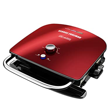 George Foreman GBR5750SRDQ Grill & Broil 7-in-1 Electric Indoor Grill, Broiler, Panini Press, and Waffle Maker, Red, Removable Plates