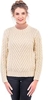 SAOL 100% Irish Merino Wool Warm Ladies Ribbed Cable Sweater in Natural/Navy Colors