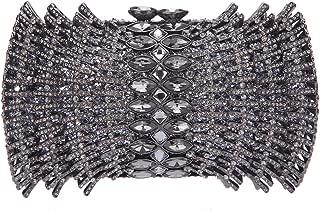 Fawziya Fan Shaped Bling Clutch Purse Rhinestone Crystal Clutch Evening Bag