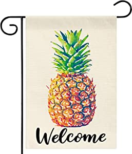 Dsweesun Summer Pineapple Welcome Garden Flag, Vertical Double Sided Burlap Beach Swimming Pool Farmhouse Outside Decorative Flag, Spring Summer Porch Law Yard Outdoor Decor, 12.5 x 18 Inch