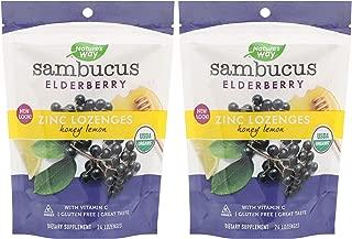 Nature's Way Sambucus Zinc Lozenges (Pack Of 2), Zinc Lozenges, Honey Lemon, With Vitamin C, Lemon and Bioactives, 24 Lozenges