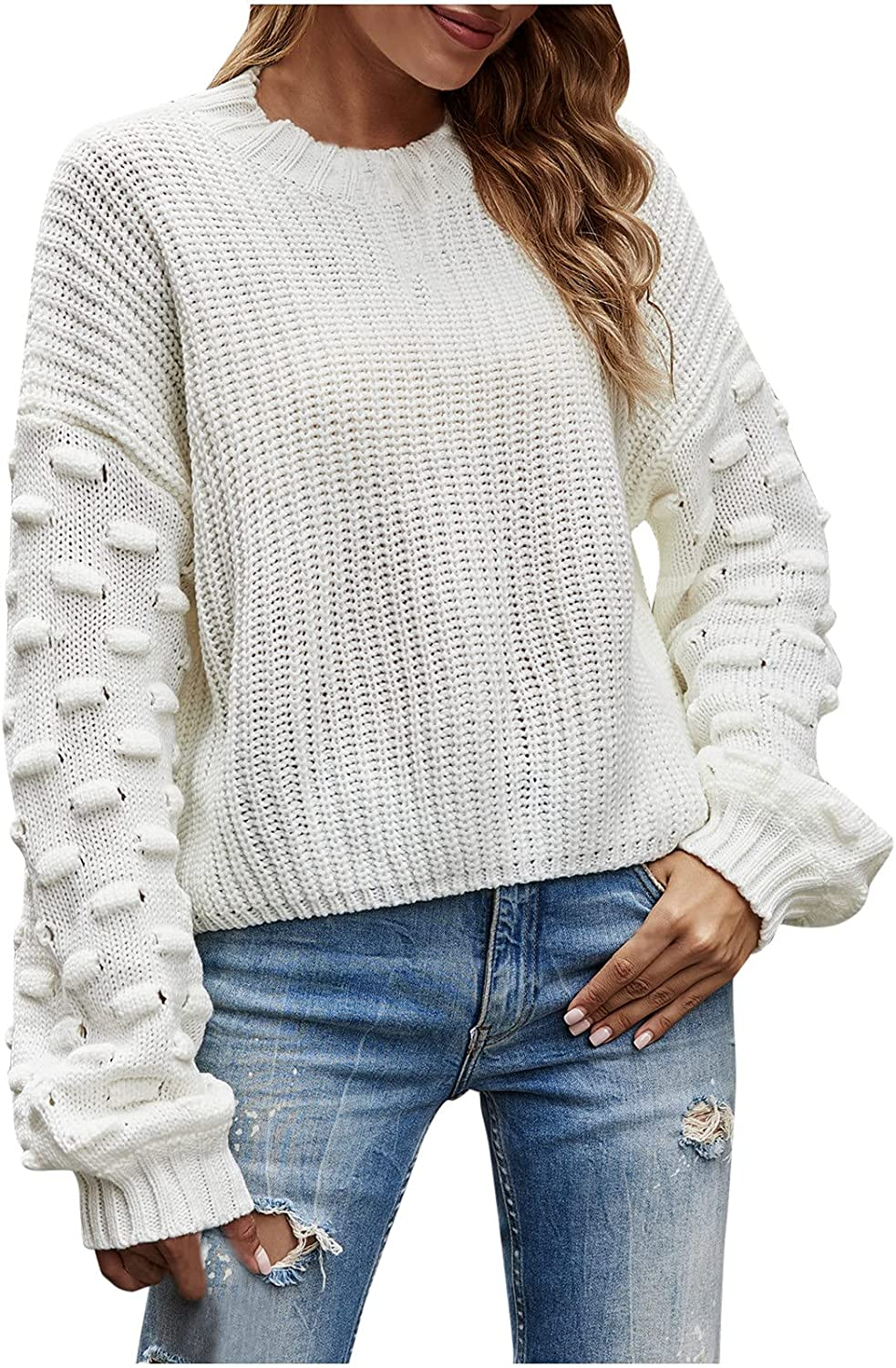 BOXIACEY Sweaters for Women Casual O-Neck Big Long Sleeve Knitted Pullover Fashion Soild Sweater Blouse