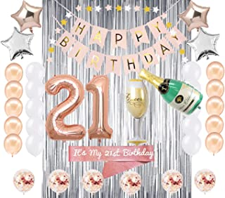 21st Birthday Decorations | 21 BDay Party Supplies | Rose Gold Confetti Balloons for her | Finally Legal 21 Sash | Silver Curtain Backdrop Props for Photos Twenty One Balloon Sign