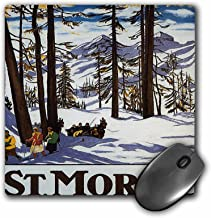 3dRose LLC 8 x 8 x 0.25 Inches Mouse Pad, St. Moritz Winter Scene With People Skiing and Horse Drawn Sleigh - (mp_170744_1)