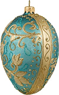Miss Christmas Palace Collection 2019 Turquoise and Gold Fabergé Egg 5-Inch Handmade Blown Glass Christmas Tree Ornament