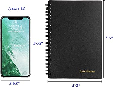 """Undated Daily Planner, To Do List Notebook, Time Management Planner and Manual, Personal Organizers, 7.5""""x 5.2"""", 75 S"""