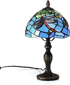 Gweat 8-Inch europäische Idylle Mittelmeer Stil Buntglas Libelle-Seriee Tischlampe Nachttischlampe Schreibtischlampe