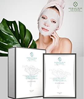 Ice Plant Stem Cell Facial Sheet Mask by Organique Science - The Award-Winning Anti-Aging Face Mask For Hydrating & Moisturizing Dry Skin Cleanse Pores & Rejuvenate Mature Skin UVA and UVB Protection