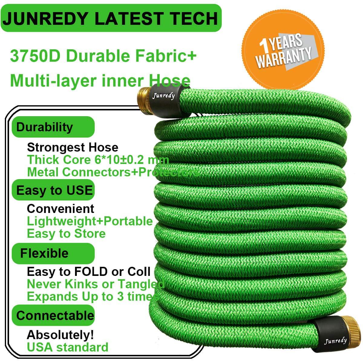"Junredy 25ft Water Hose Expandable Garden Hose Durable 3750D Fabric3//4/"" ..."