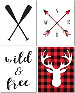 8X10 Unframed Plaid Buffalo Nursery Prints Wall Art for Baby Boy and Girl Room Decor, Decorative and Easy to Frame Quotes Shower Bedroom Bathroom Posters Decoration - No Frames & Matting