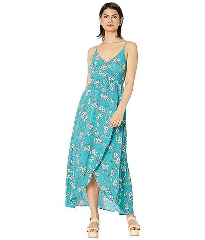 BB Dakota Cherry Blossom Printed Bubble Crepe Tie Front Wrap Dress (Bright Slate) Women