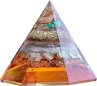 Piramide di sei orgoniti sfaccettate per la guarigione della piramide di protezione EMF della malachite citrina di amazzon...