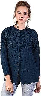 HAUTEMODA Women's Woollen Embroidered Button Cardigan with Pockets
