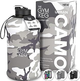The Gym Keg Sportvattenflaska (2,2 l), isolerad, med bärhandtag, stor jug sport, 1,8 l, hydroflaska, stora återanvändbara ...