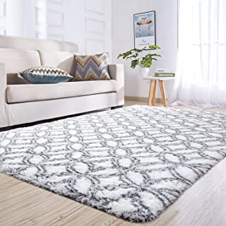 Junovo Rectangle Ultra Soft Area Rugs Fluffy Carpets for Bedroom Living Room Shaggy Floor Rug Home Decor Mats, 5ft x 8ft, White Round