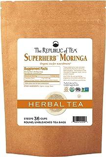 The Republic of Tea Organic Moringa Superherb Herbal Tea, 36 Tea Bags, Caffeine-Free, Non-Gmo Verified