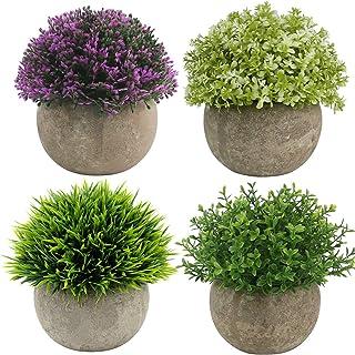 Ogrmar 4PCS Mini Plastic Artificial Plants Grass in Pot/Small Artificial Faux Greenery/Mini Plants Topiary Shrubs Fake Plants for Bathroom, House Decorations