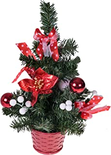 Clever Creations Mini Artificial Christmas Tree with Poinsettia, Ribbon, Ball Ornaments Red and White Christmas Decor | Decoration for Home and Office | 12