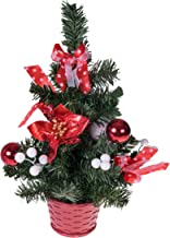 Mini Artificial Christmas Tree with Poinsettia, Ribbon, Ball Ornaments by Clever Creations | Red and White Christmas Decor...