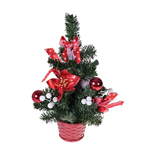 Clever Creations Mini Artificial Christmas Tree with Poinsettia, Ribbon,  Ball Ornaments Red and White - Poinsettia Tree: Amazon.com