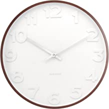 Present Time Karlsson Mr. White Numbers Wall Clock with Wooden Case, 15-Inch Diameter