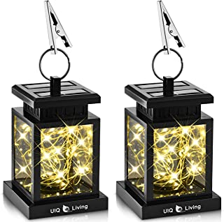 UIQ Living 2 Pack Original Hanging Solar Lights Outdoor Lantern with Circular Ring Clamp & Solar Fairy String Lights, Waterproof, 30 Warm White LEDs, Retro, Black, Transformable/Interchangeable DIY