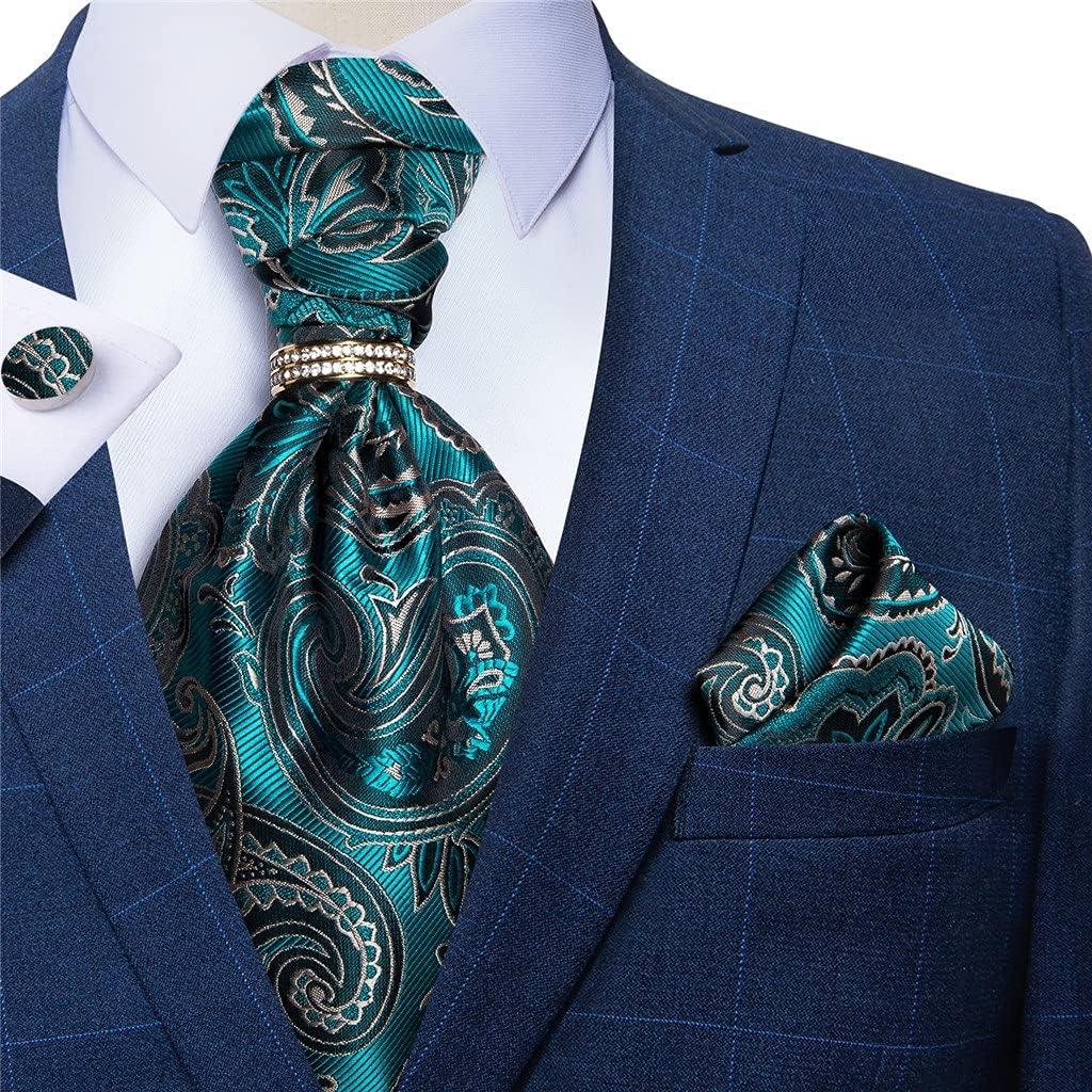 XJJZS Men Vintage Teal Blue Floral Wedding Formal Cravat Scrunch Self British Style Gentleman Necktie Scarves Hanky Set (Color : Teal Blue, Size : One Size)
