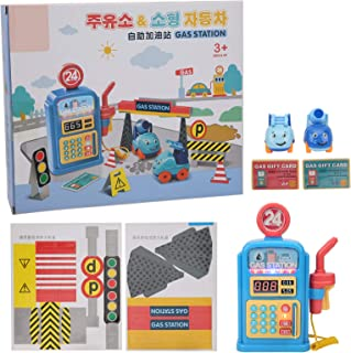 GLOGLOW Gas Station Toys, Sound Light Music Children Educational Toy Simulation Gas Station Scale Building Kits Scene Mode...