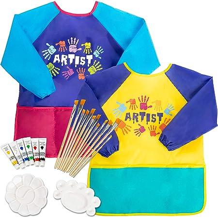 38-XXL Children Waterproof Artist Painting Aprons Long Sleeve with Pockets Plie Kids Art Smocks Butterfly Print