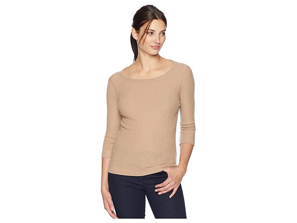 Three Dots Brushed Sweater 3/4 Sleeve British Tee (Camel) Women