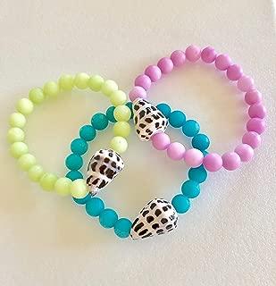 Hawaiian Cone Shell Bracelet, Blue Lagoon, Spring Green, Lavender Pink Quartz, Hebrew Cone, Seashell Stretch Bracelet, Beach Bracelet.