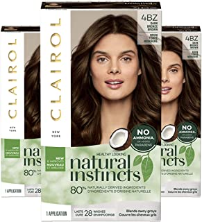 Clairol Natural Instincts Semi-Permanent, 4BZ Dark Bronze Brown, Double Espresso, Pack of 3