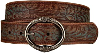 Distress Embossed Brown and Teal Leather Belt with Rhinestone Ring Buckle