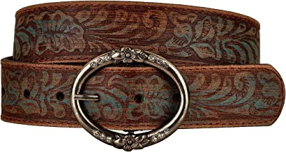 Distressed and Embossed Brown Teal Leather Belt with Rhinestone Ring Buckle