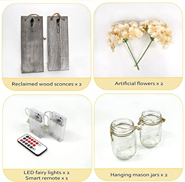 Besuerte Rustic Wooden Wall Hanging Decor with LED String Lights for Modern Living Room and Bedroom, Inspirational Country St