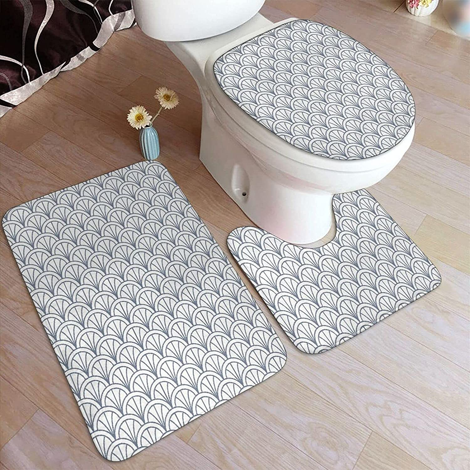 3 Piece Bathroom Rugs Set Limited Special Price Overlapping Seigaiha Pattern Geometric Detroit Mall