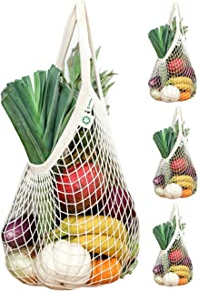 Organic Reusable Cotton Net Grocery Shopping Bag 4 Pack by Ekolojee + Gift! (made from Natural GOTS-Certified Organic Cotton String Mesh - Washable Stretchable) (Off-White, Regular Handles)