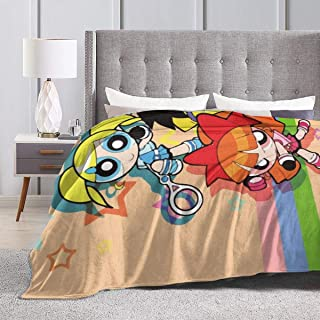 JIEKEME Flannel Blanket The Powerpuff Girls Soft Cozy Warm Throw Blanket for Bed Couch Chair Fall Winter Spring Living Room