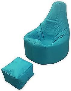 Großes Gaming Sitzsack Innen und Außenbereich Garten Lounge Gamer Stuhl mit Passenden Fusshocker in Aqua Blaugrün Blau Hochwertiges Wasserabweisendes Material