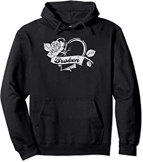 Broken Heart Emo Love Heartbroken Divorce Heartbreak Grey Pullover Hoodie