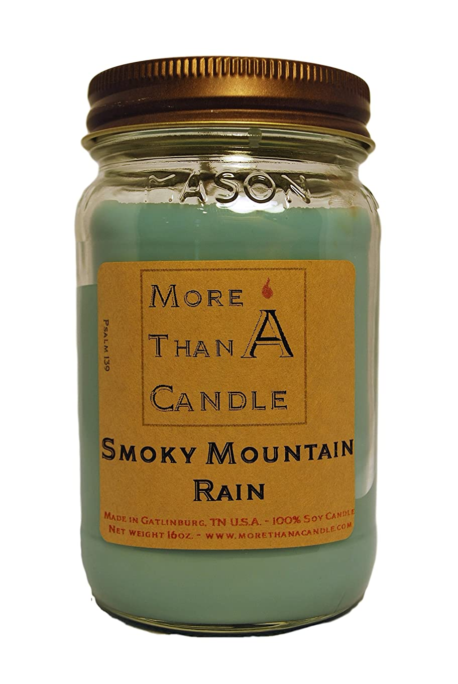 特許用量媒染剤More Than A Candle SMR16M 16 oz Mason Jar Soy Candle, Smoky Mountain Rain