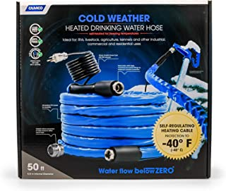 Camco 50ft Cold Weather Heated Drinking Water Hose Can Withstand Temperatures Down to -40°F/C - Lead and BPA Free, Reinforced for Maximum Kink Resistance, 5/8