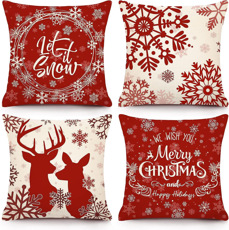YGEOMER Christmas Pillow Covers 18x18 Inch Set of 4 Snowflake Deer Winter Farmhouse Decorative Christmas Throw Pillowcase Linen Cushion Case for Home Decor