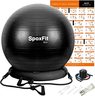 SpoxFit Exercise Ball Chair with Resistance Bands, Perfect for Office, Yoga, Balance, Fitness, Super Strong Holds 660lbs. ...