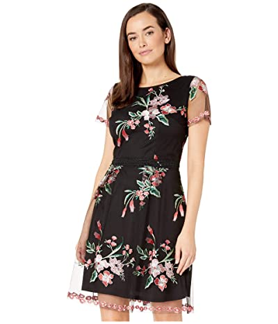 Adrianna Papell Cap Sleeve Floral Embroidered A-Line Dress (Black Multi) Women