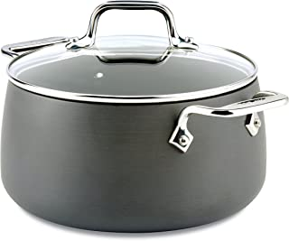 All-Clad E7854464 HA1 Hard Anodized Nonstick Dishwasher Safe PFOA Free Soup Pot/Stock Pot Cookware, 4-Quart, Black