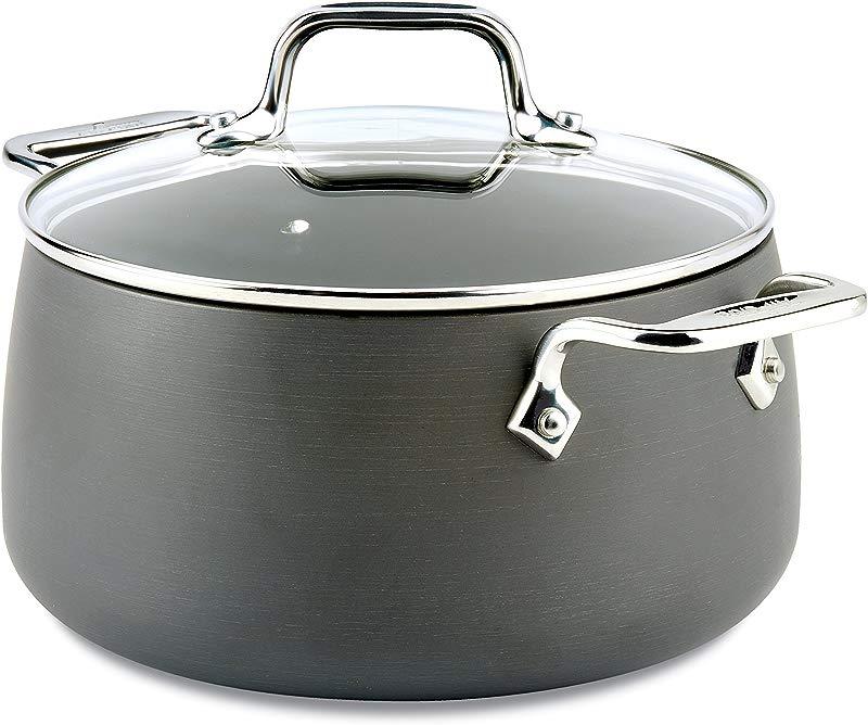 All Clad E7854464 HA1 Hard Anodized Nonstick Dishwasher Safe PFOA Free Soup Pot Stock Pot Cookware 4 Quart Black